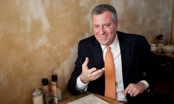New York City Public Advocate Bill de Blasio at a cafe near City Hall in New York, Dec. 20, 2012. (Deborah Yun/The Epoch Times)