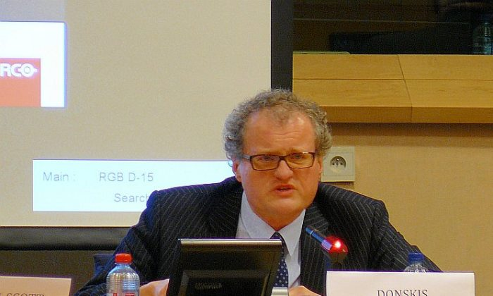 """Leonidas Donskis, a member of the European Parliament and rapporteur on human rights and democracy in the world in 2011. Donskis described organ harvesting in China as """"devilish"""" and """"nightmarish."""" (Li Zi/The Epoch Times)"""
