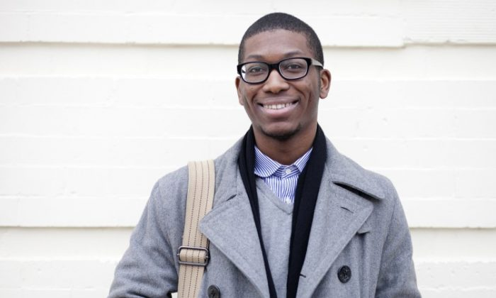 William Coles, 25, founder of Dance for Change, talks about his life experiences, Jan. 9. (Deborah Yun/The Epoch Times)