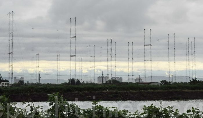 Radio Taiwan International (RTI) substation in Tianma has 20 antennas, each 75 meters high, forming a circle. Its coverage area is no. 1 in the world. RTI is planning to shut down its substations and end its contracts with Sound of Hope Radio and Radio Free Asia, which have been broadcasting uncensored news to the mainland. (Li Yuan/The Epoch Times)