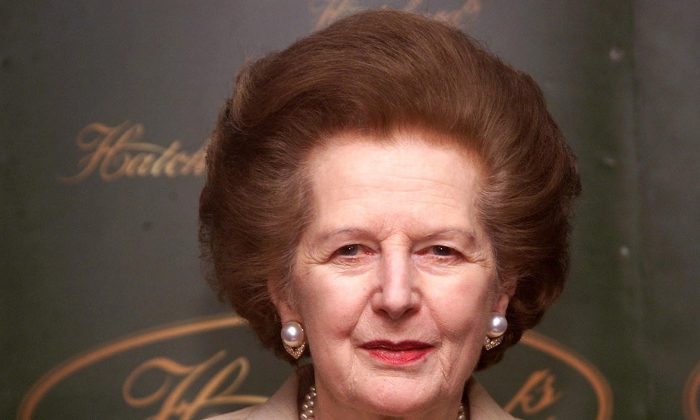 Former British prime minister Baroness Margaret Thatcher at a book signing session at Hatchards in Piccadilly, London, on April 3, 2002. (Hugo Philpott/AFP/Getty Images)