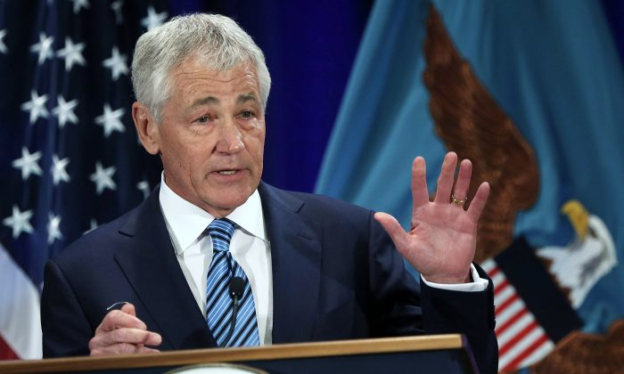 Secretary of Defense Chuck Hagel at Fort McNair on April 3. (Alex Wong/Getty Images)