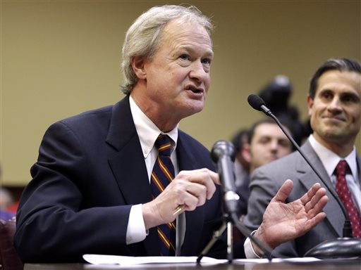 In this Jan. 15, 2013 file photo, Rhode Island Gov. Lincoln Chafee testifies in support of same-sex marriage before the House Judiciary Committee, at the Statehouse, in Providence, R.I. (AP Photo/Steven Senne, File)