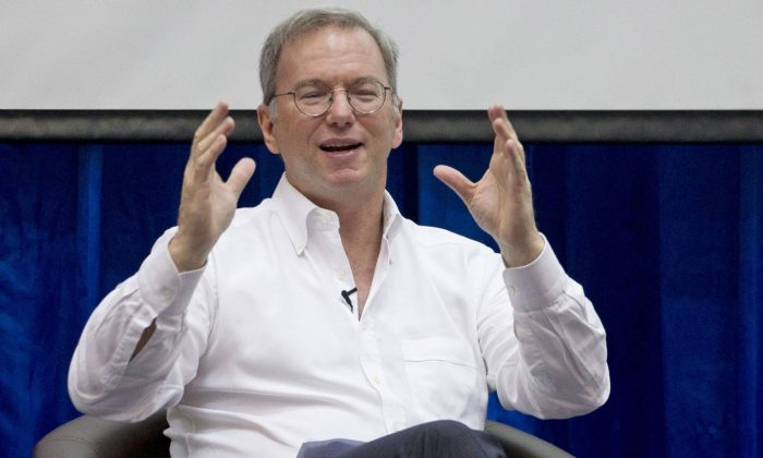 """Google Executive Chairman Eric Schmidt shares his visions of a radically different future in """"""""The New Digital Age,"""""""" a book that goes on sale Tuesday, April 23, 2013. (AP Photo/Gemunu Amarasinghe)"""