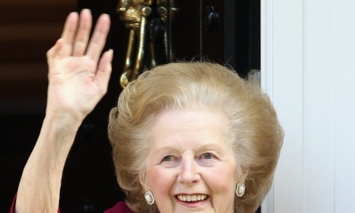 A file photo of former British Prime Minister Margaret Thatcher waving to the press at her home, after leaving Cromwell Hospital on Nov. 1, 2010, in London. Thatcher died April 8, 2013, of a stroke. (Dan Kitwood/Getty Images)