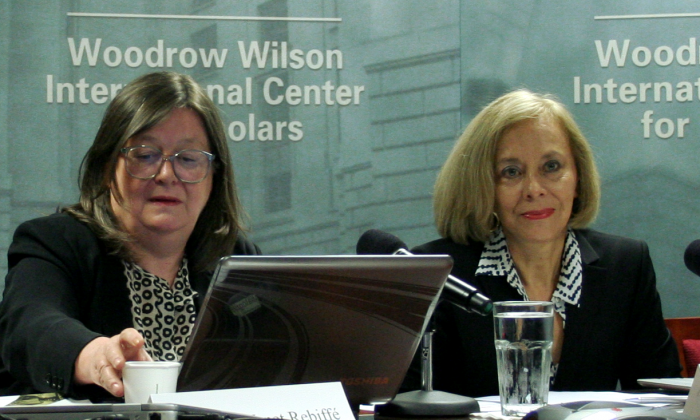 Fabienne Venet Rebiffe (L), Institute for Studies and Communication on Migration (INEDIM); and Norma Samaniego Breach, former Mexican government undersecretary of labor, and president of the National Minimum Wages Commission spoke April 17, 2013, at the Woodrow Wilson Center on a new report concerning guest worker programs in the U.S., Canada, Mexico and Central America. (Gary Feuerberg/ The Epoch Times)