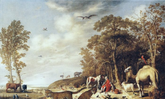 """""""Orpheus with Animals in a Landscape,"""" by Aelbert Cuyp (1620–1691), oil on canvas circa 1640, 5 feet, 5 and 3/4 inches by 3 feet, 8 and 1/2 inches. (Courtesy of Michael Talibard)"""