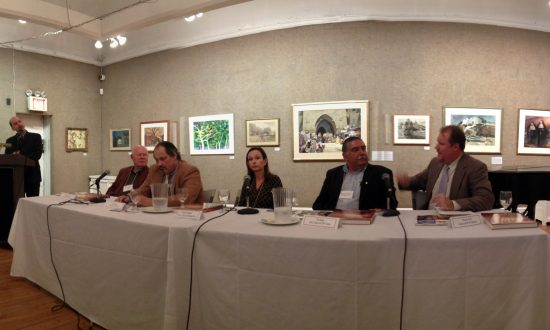 """The panel and moderator from left to right: moderator Peter Trippi, Douglas Allen, Tom Davies, Elizabeth """"Beth"""" Harrington, Bob Mueller, and Thomas Tener. (Christine Lin/Epoch Times)"""