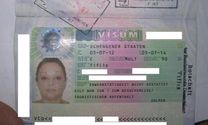 Georgian citizen Schengen visa, and her first entry in Germany, July 5,2012; together with the exit date, October 2, 2012. (Holger Eekhof)