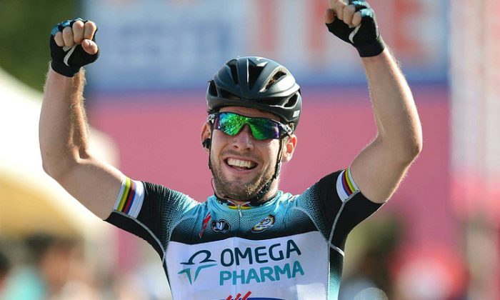 Omega Pharma-Quickstep sprinter mark Cavendish wins Stage Six of the 2013 Giro d'Italia, 169 kms from Bari to Margherita di Savoia, on May 9. (omegapharma-quickstep.com)