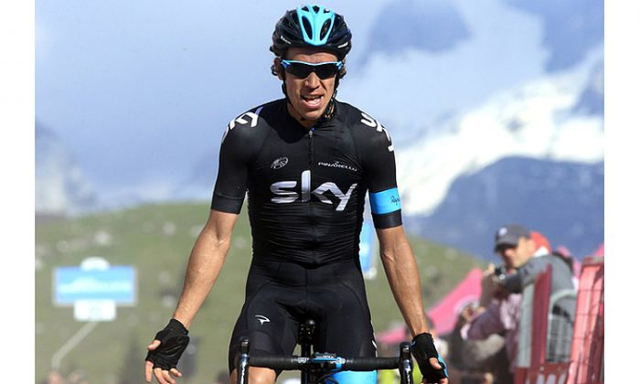 Sky's Rigoberto Uran attacked halfway through the steep Cat One climb to the finish line of Stage Ten of the 2013 Giro d'Italia and persisted to take the stage win. (www.teamsky.com)