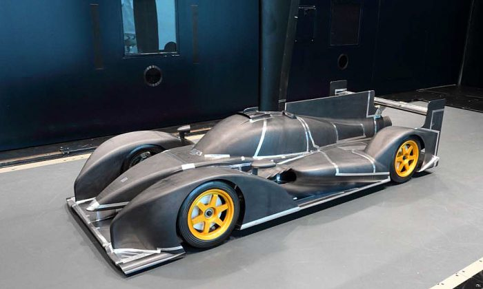The Dome 2014 Dome S103 wind-tunnel model, showing the tall, sharp front fenders, much different from the tall blunt designs favored by Toyota, Audi, Lola, and HPD. (Dome.co.jp)