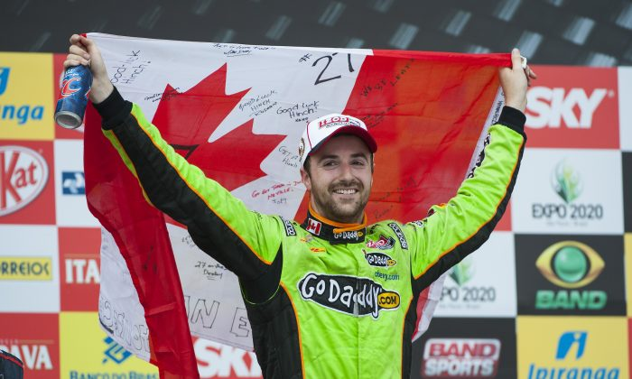 James Hinchcliffe, driver of the #27 Andretti Autosport Dallara Chevrolet celebrates after winning the IndyCar Sao Paulo Indy 300 on the streets of Sao Paulo in Sao Paulo, Brazil on May 5, 2013. (Robert Laberge/Getty Images)