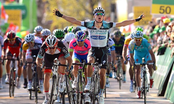 Gianni Meersman crosses the finish line of Stage One of the Tour de Romandie, April 24. (omegapharma-quickstep.com)