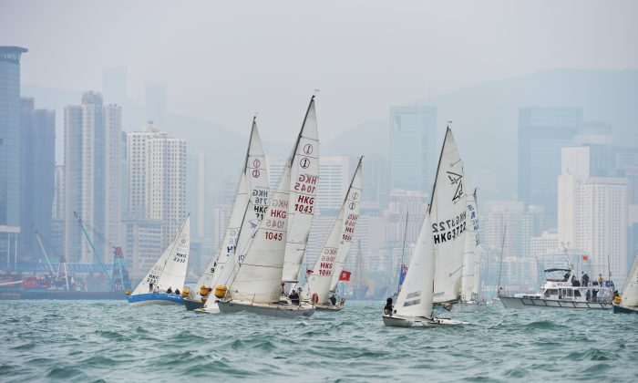 'Phact or Phiction'… Simon Pickering's Flying Fifteen Sail No. HKG3722 was not the fastest across the start line, but finished winning the RHKYC Nations' Cup race on calculated time on Saturday April 27. (Bill Cox/Epoch Times Staff)