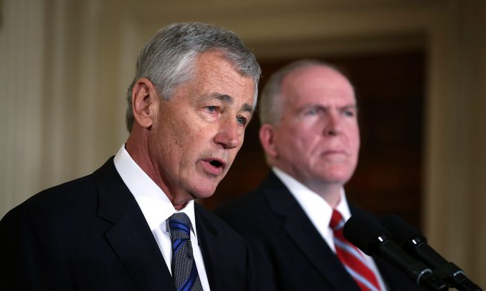 Secretary of Defense Chuck Hagel speaks during a personnel announcement in the East Room at the White House in this file photo. At a daylong symposium at the Washington Institute for Near East Policy, Hagel discussed the tumultuous situation in the Middle East. (Alex Wong/Getty Images)