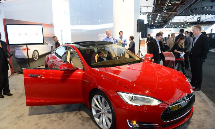 A Tesla Model S at the 2013 North American International Auto Show in Detroit, Jan. 15. Telsa's stock has performed strongly this year, but some analysts question if this performance can continue. (Stan Honda/AFP/Getty Images)