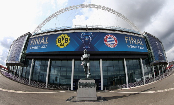 The team emblems of Borussia Dortmund 09 and FC Bayern München are displayed at Wembley Stadium ahead of UEFA Champions League Final at Wembley Stadium on May 23, 2013 in London, England.  (Matthew Lewis/Getty Images)