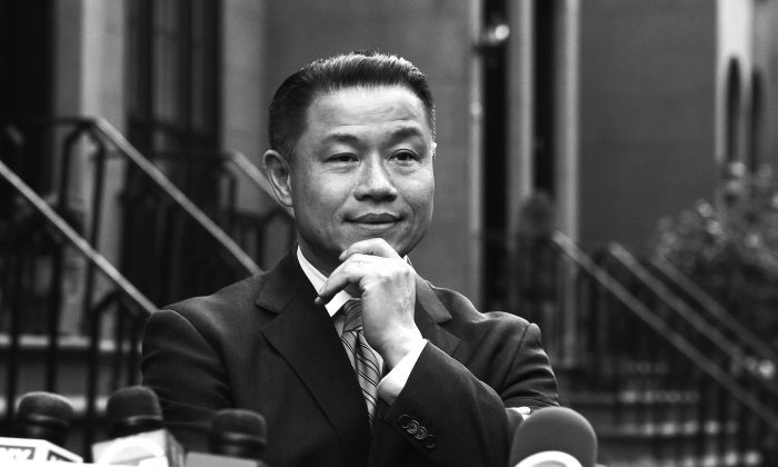 New York City Comptroller John Liu speaking at a press conference in Brooklyn May 2 after two of his aides were found guilty of attempted wire fraud in conjunction with his comptroller campaign from 2009–2011. Liu is also a NYC mayoral candidate. (Samira Bouaou/The Epoch Times)