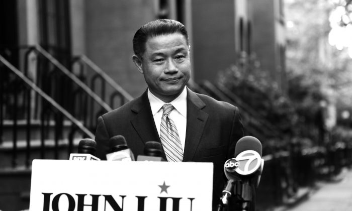 New York City Comptroller John Liu speaking at a press conference in Brooklyn May 2 after two of his aides were found guilty of attempted wire fraud in conjunction with his comptroller campaign from 2009–2011. Liu is also a NYC mayoral candidate.  (Samira Bouaou/Epoch Times)