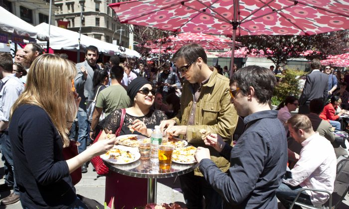 Taking in a beautiful sunny day at Madison Square Eats. (Samira Bouaou/The Epoch Times)