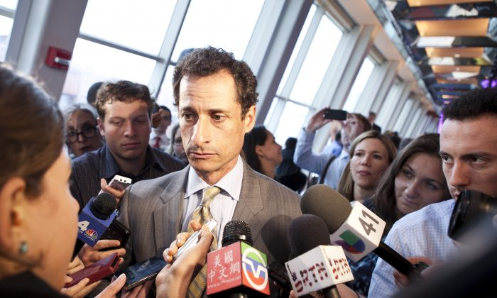 Former Congressman Anthony Weiner speaking to media at a forum hosted by New Yorkers for Great Public Schools at New York University's Kimmel Center in Manhattan on May 28, 2013. (Samira Bouaou/The Epoch Times)