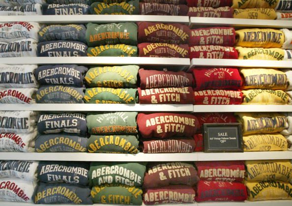 Abercrombie & Fitch sweatshirts are displayed in one of its stores in Chicago, Illinois in this file photo. A recently surfaced interview from 2006 by CEO Mike Jeffries provoked a major social media backlash. He implied that Abercrombie does not want sell to overweight or unattractive people.  (Tim Boyle/Getty Images)