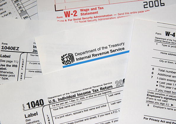 This file photo shows US Internal Revenue Service (IRS) tax forms. (Karen Bleier/AFP/Getty Images)
