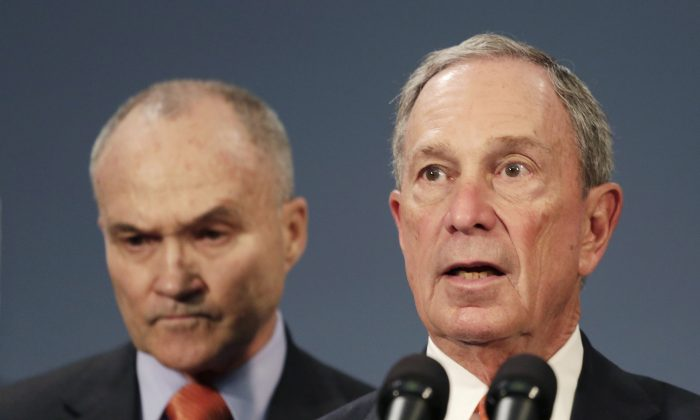 New York City Mayor Michael Bloomberg, right is joined by New York City Police Commissioner Raymond Kelly, left, during a news conference in New York in April. New York City Police said on Wednesday, May 29, 2013 that two anonymous letters sent to Bloomberg, one in New York and one in Washington, contained traces of the deadly poison ricin. Police say civilian personnel who came into contact with the letters were not showing any symptoms, but some officers who later examined the one in New York were. (AP Photo/Mark Lennihan, File)