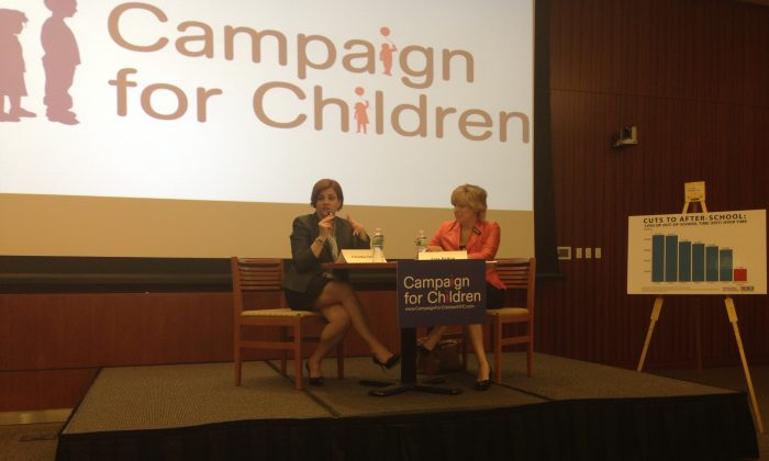 Christine Quinn speaks at a mayoral forum hosted by the Campaign for Children at the New York Law School on May 21. (Ivan Pentchoukov/The Epoch Times)