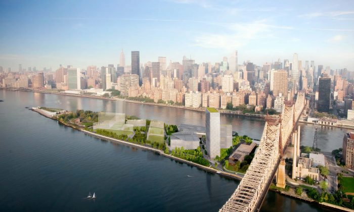 An artist's rendering of the campus proposed by Cornell University and Technion-Israel Institute of Technology for Roosevelt Island. (Courtesy of Cornell University)