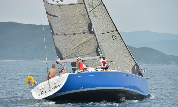 'Barnstormer' in her new livery took line honours in IRC Division Races 1 and 2 of the Summer Saturday Series on Saturday May 25. She is seen here performing in the Spring Saturday Series on May 11. (Bill Cox/The Epoch Times)