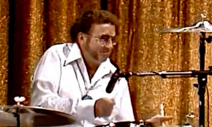 """Ed Shaughnessy plays drums with Buddy Rich (not shown) on """"The Tonight Show,"""" hosted by Johnny Carson in 1978. (Screenshot/YouTube)"""