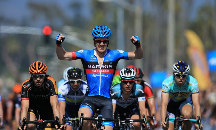 Tyler Farrar of Garmin Sharp celebrates winning stage four of the 2013 Amgen Tour of California from Palmdale to Santa Clarita on May 15, 2013. (Doug Pensinger/Getty Images)