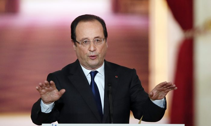 French President Francois Hollande gives a press conference at the Elysee Palace in Paris on May 16, 2013, a day after his first anniversary in office was marred by news that France had fallen back into recession amid plummeting economic indicators. (Patrick Kovarik/AFP/Getty Images)