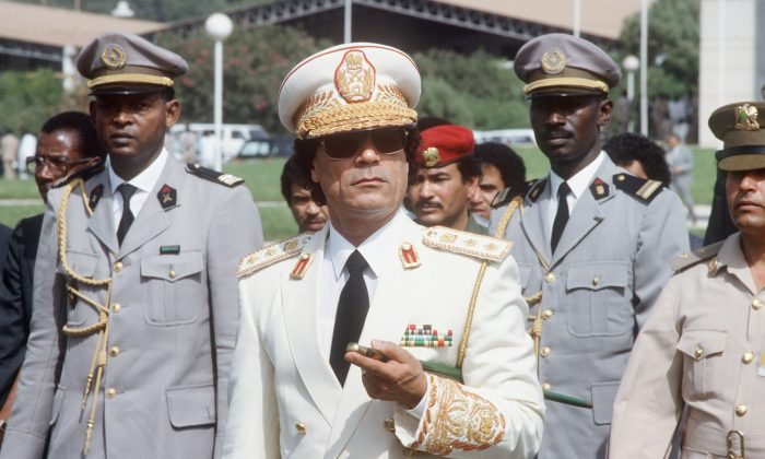 Former Libyan dictator Moammar Gadhafi in Dakar, Senegal, Dec. 3, 1985. According to declassified FBI documents, a source had contacted the FBI saying Gadhafi had put out a contract to have President Ronald Reagan killed. (Joel Robine/AFP/Getty Images)