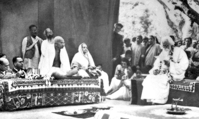 Tagore is seen with Mohandas Gandhi (Mahatma Gandhi) and his wife, Kasturba Gandhi at Shantiniketan in West Bengal, during the time of British India in 1940. (Wikimedia Commons)