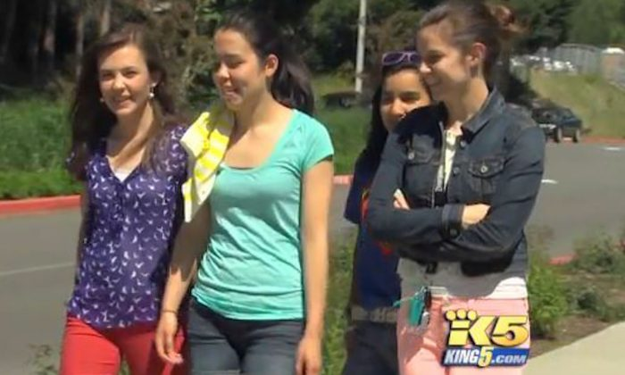 Students at Issaquah Senior High School in Washington on May 6, 2013. An unofficial contest held by students at the school known as May Madness, has boys vote on which girls are most attractive. (Screenshot/King 5 News)