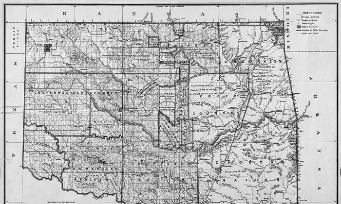 Map of Indian territory in Oklahoma, 1885. As a result of unique treaties the federal government made with Oklahoma tribes, the Chickasaw and Choctaw nations may possess a substantial amount of state water rights. (General Land Office, U.S. Department of the Interior)