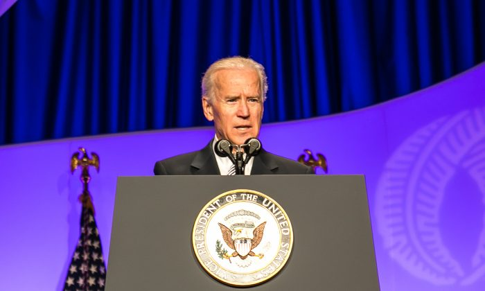 Vice President Joe Biden addressed the Asian Pacific American Institute for Congressional Studies (APAICS) at a gala event in Washington D.C., May 8. Biden said said he was optimistic that an immigration bill would be passed by the end of summer. (Lisa Fan)
