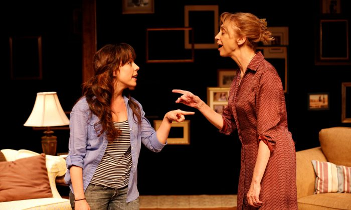 Daughter (Leslie Krtizer) returns home to live with Mother (Catherine Cox), in a musical about the difficulties of living with dementia. (Carol Rosegg)