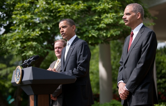 President Barack Obama and Attorney General Eric Holder. Obama is one many elected officials who are pushing for a federal shield law after the seizure of two months of telephone records from the Associated Press. (White House)