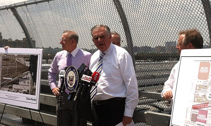 U.S. Transportation Secretary Ray LaHood announced on May 30 in New York announcing $185 million in Hurricane Sandy Relief funding that will allow work to begin on a new flood-resistant tunnel casement under the Hudson Yards, part of Amtrak's Gateway project. (Genevieve Belmaker/The Epoch Times)