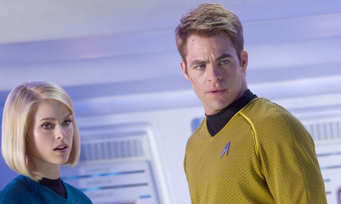 """Dr. Carol Marcus (played by Alice Eve) and Captain James T. Kirk (Chris Pine) in the science-fiction action-adventure film """"Star Trek Into Darkness,"""" a film about the crew of the Enterprise on a mission to capture a weapon of mass destruction. (Courtesy of Paramount Pictures)"""