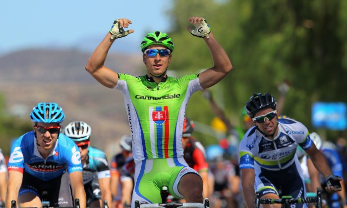 Stage winner Peter Sagan of Cannondale celebrates as he finishes ahead of Michael Matthews of Orica Green Edge in second place and Tyler Farrar of  Garmin-Sharp to win Stage Three of the 2013 Amgen Tour of California from Palmdale to Santa Clarita on May 14. (Doug Pensinger/Getty Images)