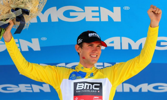 Tejay van Garderen of BMC takes the podium after winning the Individual Time Trial during Stage Six and defending the overall race leader's jersey in the 2013 Amgen Tour of California on May 17, 2013 in San Jose, California. (Doug Pensinger/Getty Images)