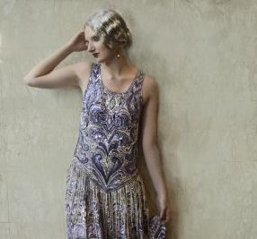 """This """"Great Gatsby""""-style lilac dress took six months to complete, with four craftsmen stitching it entirely by hand. (Courtesy of Natasha von Rosenschilde design)"""