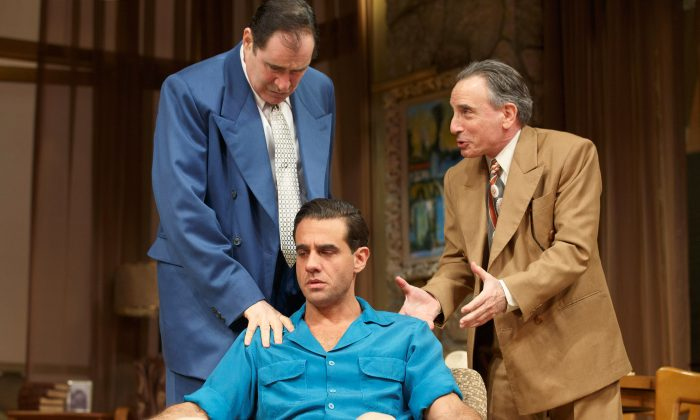 Studio head Marcus (R, Richard Kind) and fast-talking agent Nat (L, Chip Zien) try to convince movie star Charlie Castle (C, Bobby Cannavale) to sign a contract. (Joan Marcus)
