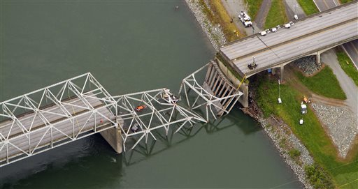 A collapsed section of the Interstate 5 bridge over the Skagit River is seen in an aerial view on May 24, 2013. Part of the bridge collapsed Thursday evening, sending cars and people into the water when an oversized truck hit the span, the Washington State Patrol chief said. The collapse points to a declining infrastructure across the nation, and points to the need for re-investment, according to U.S. Rep. Jim McDermott (D-WA). (Mike Siegel/The Seattle Times via AP)