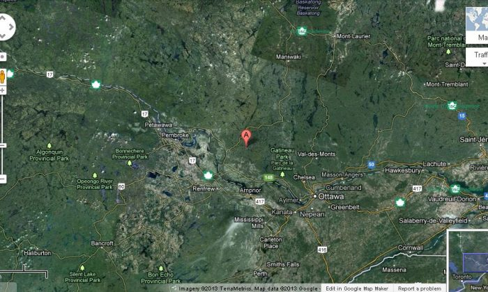 The estimated 5.2 earthquake in Shawville, Canada, which was felt in Ontario, Toronto, and multiple states in the United States. (Screenshot/Google Maps)